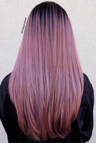 Par lung saten cu nuante violet